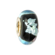 IMPPAC black Silverline Murano Style Glass Bead, Night, 925 Sterling Silver, fits European Charms Bracelets SMB8012