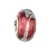IMPPAC rose Silverline Murano Style Glass Bead, 925 Sterling Silver, fits European Charms Bracelets SMB8028