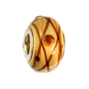 IMPPAC Murano Style Glass Bead, Caramel, 925 Sterling Silver, fits European Charms Bracelets SMB8002