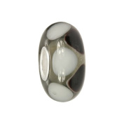IMPPAC black and white Murano Style Glass Bead, 925 Sterling Silver, fits European Charms Bracelets SMB8106