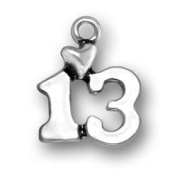 Sterling Silver Charm Pendant Number 13 with Heart Birthday Bar Mitzvah Bat Mitzvah
