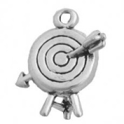 Sterling Silver Charm Pendant Archery Target with Arrow