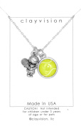 Clayvision Tennis Girl w/Colour Tennis Ball Charm on a Necklace