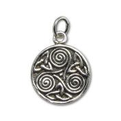 Celtic Trinity Knot Spiral Triskelion Sterling Silver Charm