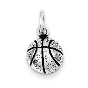 Sterling Silver Antiqued Basketball Charm