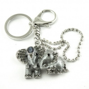 Sommet Silver Tone Rhinestone Twin Elephants Design Hook Clip Keychain Keyring Charm