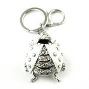 Sommet Silver Tone Rhinestone White Ladybug Design Hook Clip Keychain Keyring Charm