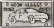 Antique Silver God Bless This Car Visor Clip