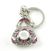 Sommet Silver Tone Rhinestone Pink Purse Design Hook Clip Keychain Keyring Charm