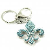 Sommet Silver Tone Rhinestone Blue Floral Emblem Design Hook Clip Keychain Keyring Charm