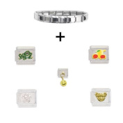 Clearly Charming Shiny Starter Italian Charm Bracelet Plus Five Charms