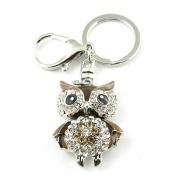 Sommet Silver Tone Rhinestone Brown Owl Design Hook Clip Keychain Keyring Charm