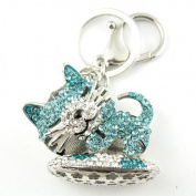 Sommet Silver Tone Rhinestone Blue Sleepy Kitty Design Hook Clip Keychain Keyring Charm
