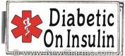 Diabetic On Insulin White Medical Alert Italian Charm Bracelet Jewellery Link