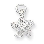 Sterling Silver Filigree Starfish Charm - JewelryWeb