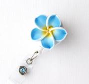 Badge Blooms ID Badge Reel - Plumeria - Ocean Blue