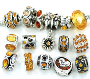 Ten (10) of Assorted Shades of Yellow Gold Crystal Rhinestone Beads (Styles You Will Receive Are Shown in Picture Random 10 Beads Mix) Charms Spacers for Bracelets Fits Pandora, Biagi, Troll, Chamilla and Many Others
