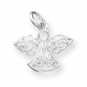 Sterling Silver Filigree Angel Charm - 18mm - JewelryWeb