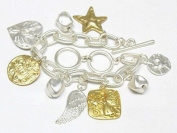 Charm Bracelet Angel Wing Star Heart Gold Silver Tones Toggle New