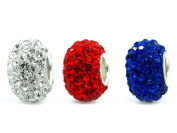 """.925 Sterling Silver w. Crystal """" Red White Blue 4th of July """" Charms Pandora Troll Chamilia Biagi Bead Compatible"""