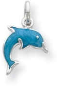 Enamelled Dolphin Charm, Sterling Silver