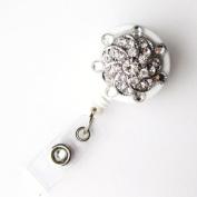 Badge Blooms ID Badge Reel - Bling - Crystal on White