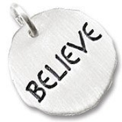 """Rembrandt Charms """"Believe"""" Charm Tag, Rhodium Plated Silver"""