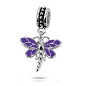 Sterling Silver Dragonfly Dangle Purple Charm with Purple Enamel , Fits Pandora, Jovana, Chamilia Bracelet