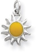Enamelled Sun Charm, Sterling Silver