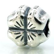".925 Sterling Silver "" 4 Leaf Clover Charm "" for Pandora Chamilia Kay's Troll European Story Charm Bracelets"