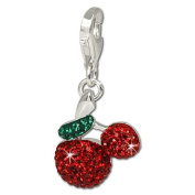 SilberDream Glitter Charm Swarowski Elements cherries, 925 Sterling Silver Charms Pendant with Lobster Clasp for Charms Bracelet, Necklace or Earring GSC308