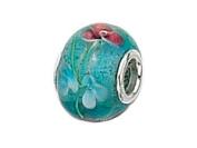 Zable(tm) Sterling Silver Aqua Glass Flower Murano Glass Bead / Charm
