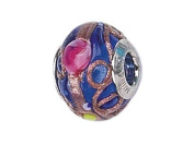 Zable(tm) Sterling Silver Blue/Multicolor Flowers Murano Glass Bead / Charm