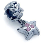 STAR FISH Pink Animal Solid Sterling Silver Dangle CZ Crystal Fits European Charm Bead Bracelets