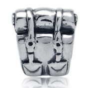 BACKPACK Travel Vacations Solid Sterling Silver Fits European Charm Bead Bracelets