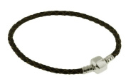 Genuine Leather European Beads Bracelet with Solid 925 Silver Clasp Fits European Charms