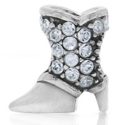 COWBOY BOOTS Clear Clothing Accessories Solid Sterling Silver CZ Crystals Fits European Charm Bead Bracelets