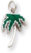 Enamel Palm Tree Charm, Sterling Silver