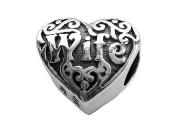 Zable(tm) Sterling Silver Wife Heart Bead / Charm