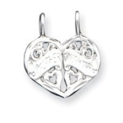 Sterling Silver Mother Daughter 2-Piece Break Apart Charm - JewelryWeb