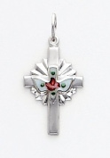 White Enamelled Cross with Dove Charm, Sterling Silver