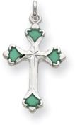 Green Enamelled Cross Charm, Sterling Silver