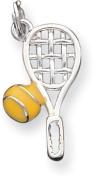 Tennis Racket/Raquet Enamelled Charm, Sterling Silver