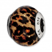 Genuine Reflection Beads (TM) Bead Charm. Sterling Silver Reflections Brown Jaguar Glitter Overlay Glass Bead. 100% Satisfaction Guaranteed.