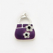 Cubic Zirconia Enamelled Pocket Book Charm, Sterling Silver