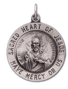 0.925 Sterling Silver Sacred Heart of Jesus Pendant Charm