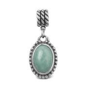 Relios Sterling Silver Reversible Peruvian Amazonite Charm - Fits Pandora European Charm Bracelets
