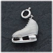 Grey Enamelled Ice Skate Charm, Sterling Silver