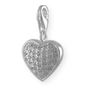MELINA Charms clip on pendant heart zirconia sterling silver 925