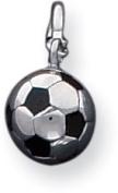 Enamelled Soccer Ball 3D Charm, Sterling Silver